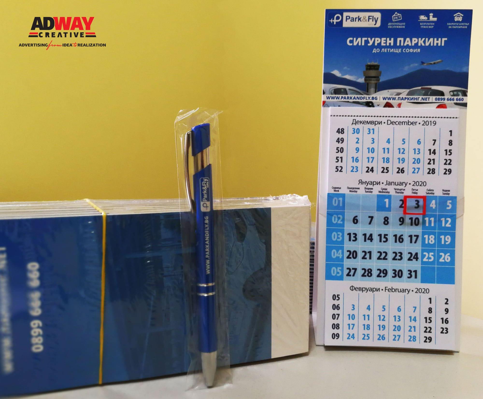 Promotional Calendars and pens ParkAndFly