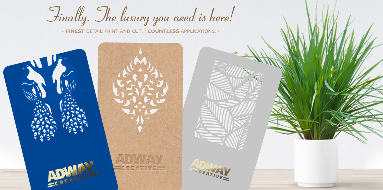 Printing services - new luxury business cards laser die cut gold embossed print