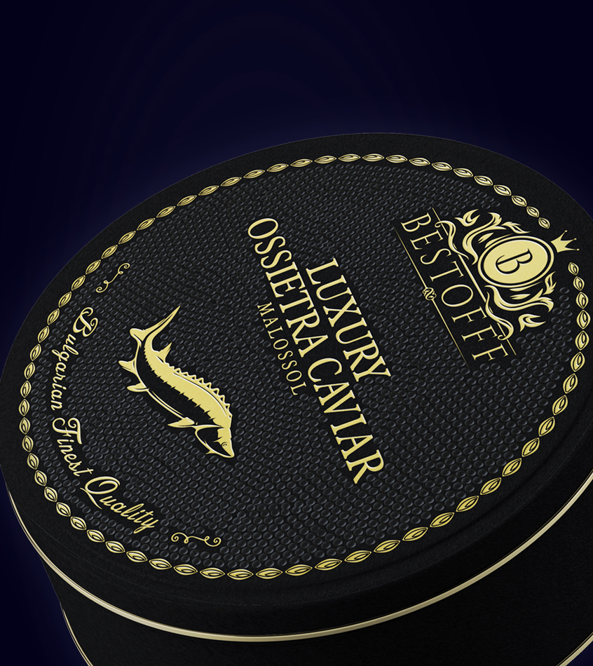 Black caviar packaging design