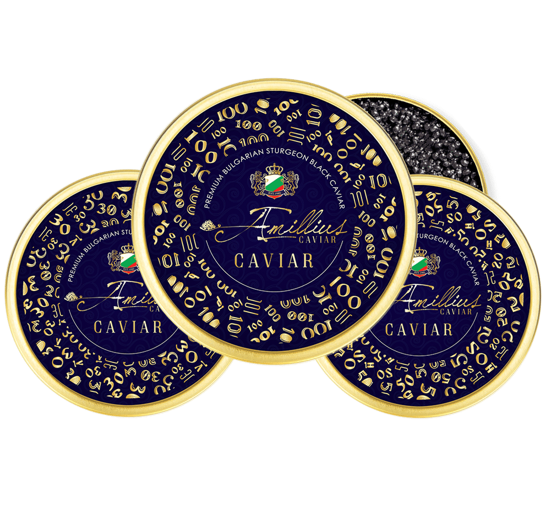 Luxury black caviar label design by creative agency AdwayCreative