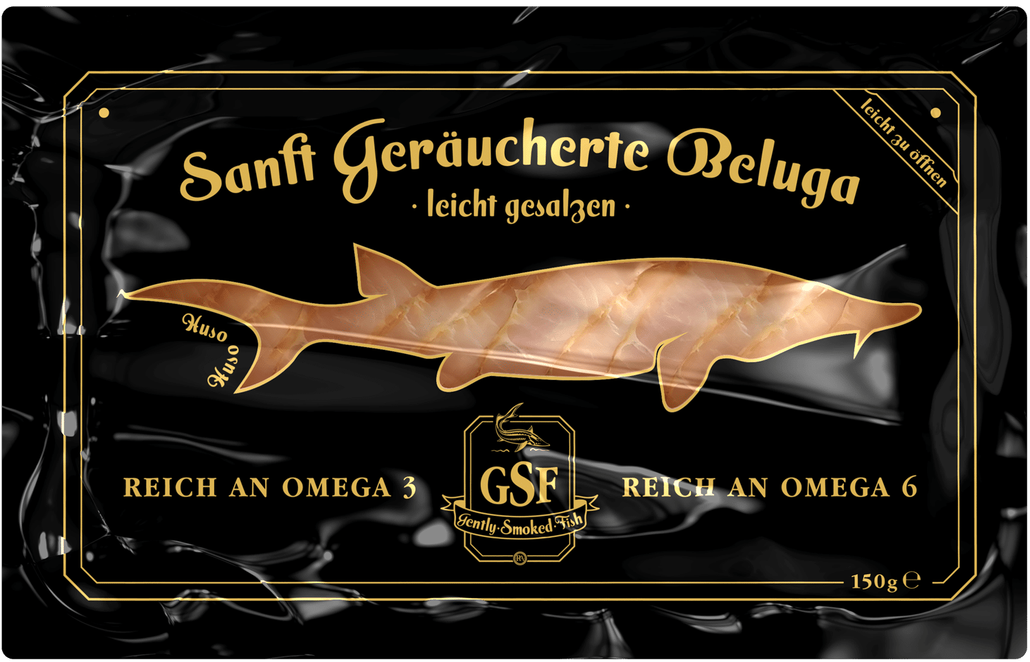 Smoked Beluga Fish Vacuum Packaging Design